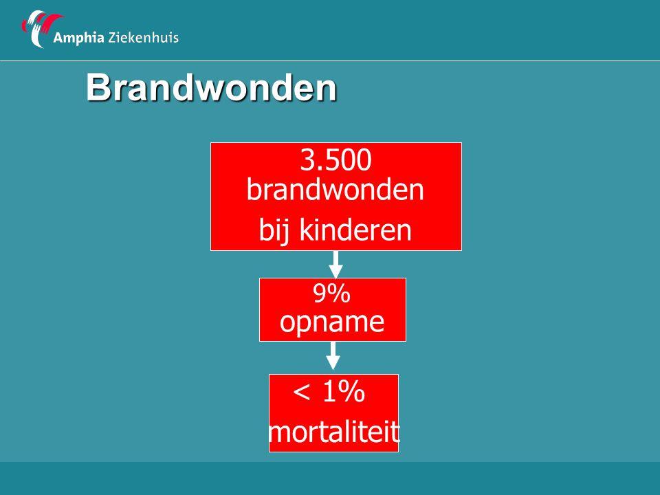 Brandwonden 3.500 brandwonden bij kinderen 9% opname < 1% mortaliteit