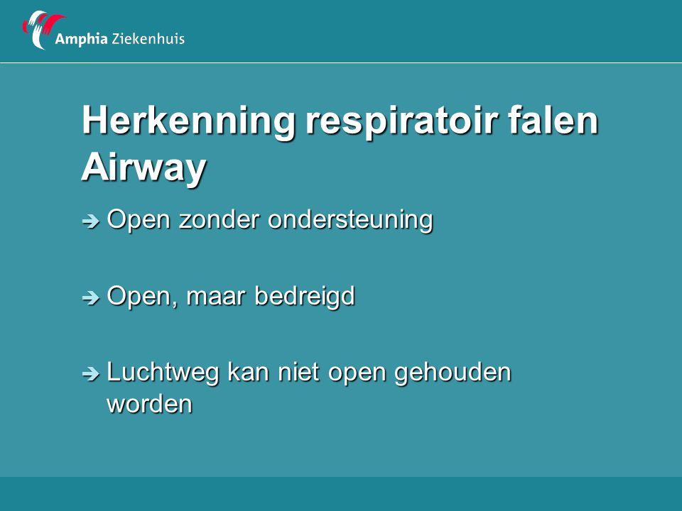 Herkenning respiratoir falen Airway  Open zonder ondersteuning  Open, maar bedreigd  Luchtweg kan niet open gehouden worden
