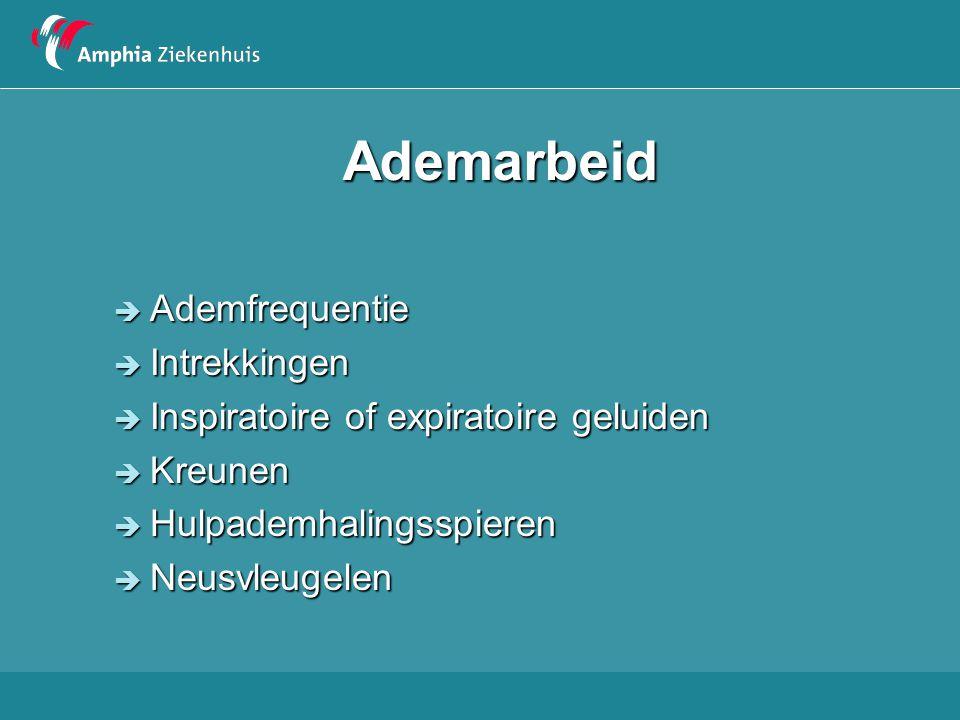 Ademarbeid: bijgeluiden  Inspiratoire stridor - bovenste luchtwegpathologie  Expiratoir piepen - onderste luchtwegpathologie