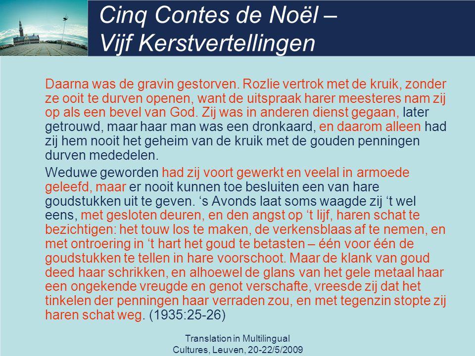 Cinq Contes de Noël – Vijf Kerstvertellingen Daarna was de gravin gestorven.
