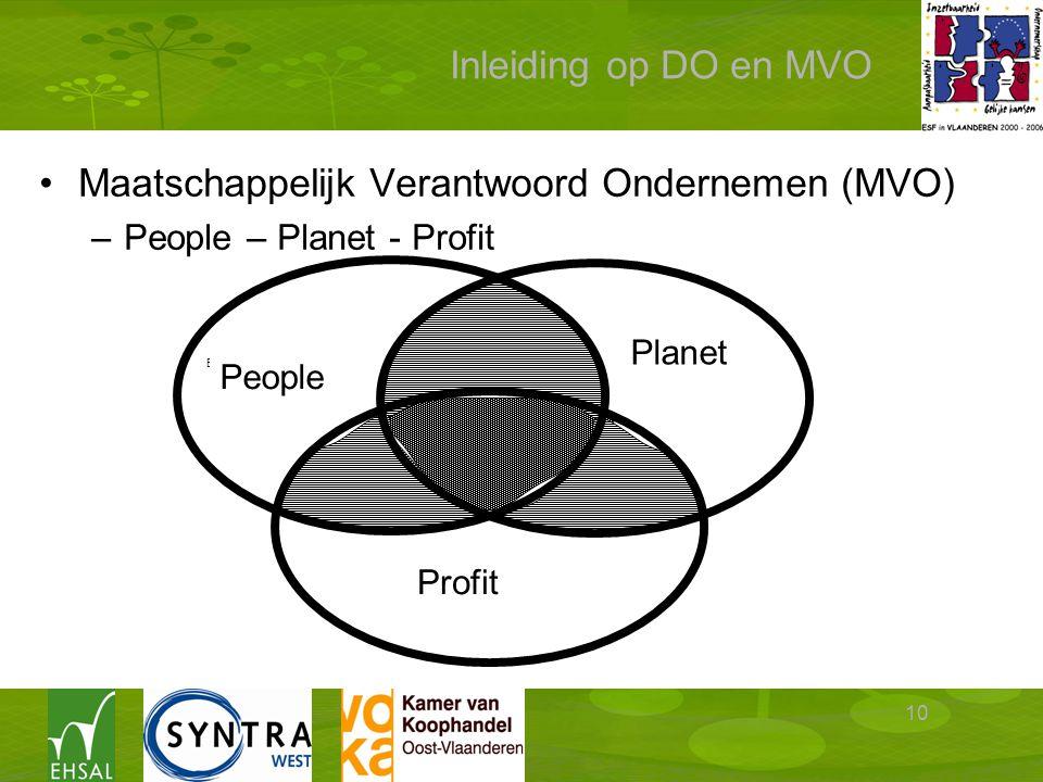 10 Inleiding op DO en MVO Maatschappelijk Verantwoord Ondernemen (MVO) –People – Planet - Profit Milieu- doelstellingen Economische doelstellingen Sociale doelstellingen People Planet Profit