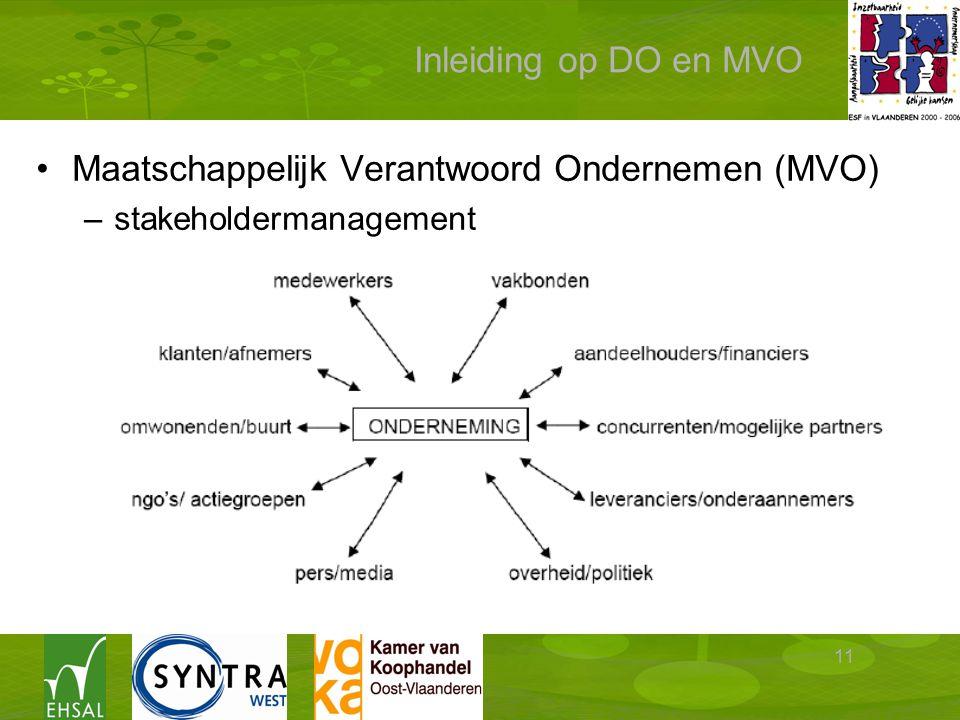 11 Inleiding op DO en MVO Maatschappelijk Verantwoord Ondernemen (MVO) –stakeholdermanagement