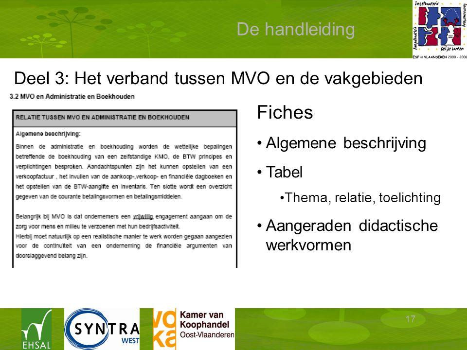 17 De handleiding Deel 3: Het verband tussen MVO en de vakgebieden Fiches Algemene beschrijving Tabel Thema, relatie, toelichting Aangeraden didactische werkvormen