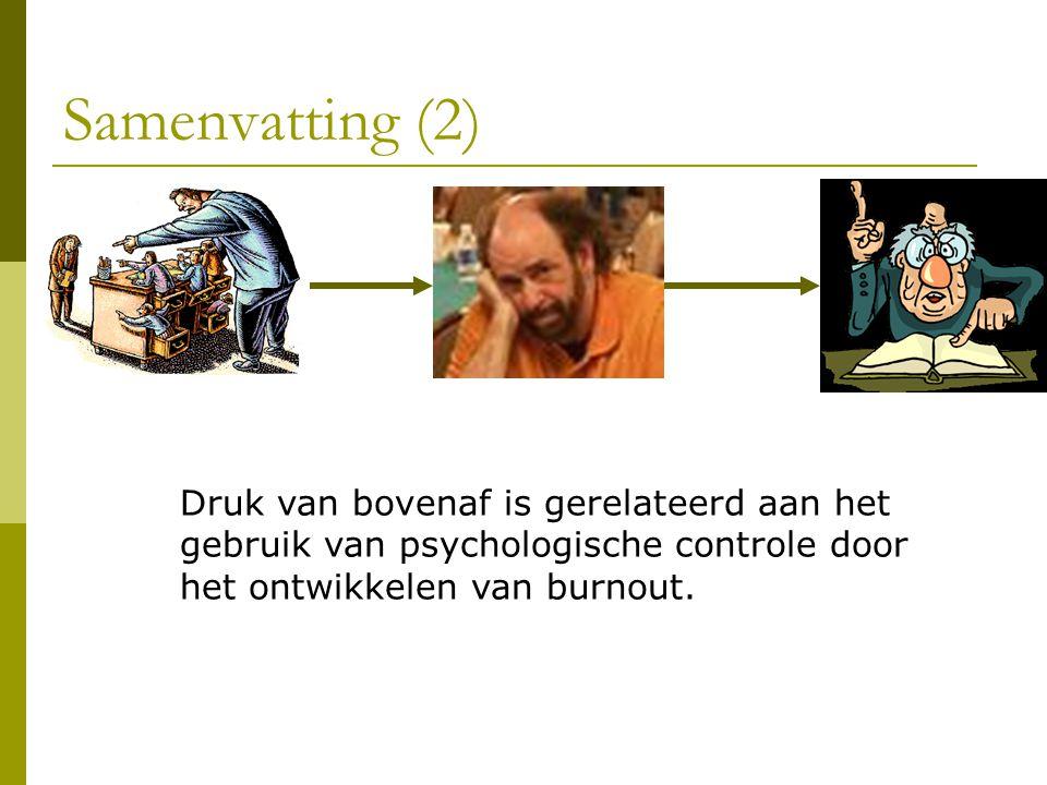 Samenvatting (2) Druk van bovenaf is gerelateerd aan het gebruik van psychologische controle door het ontwikkelen van burnout.