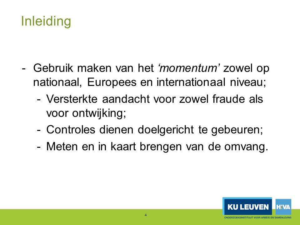 Inleiding -Gebruik maken van het 'momentum' zowel op nationaal, Europees en internationaal niveau; -Versterkte aandacht voor zowel fraude als voor ontwijking; -Controles dienen doelgericht te gebeuren; -Meten en in kaart brengen van de omvang.