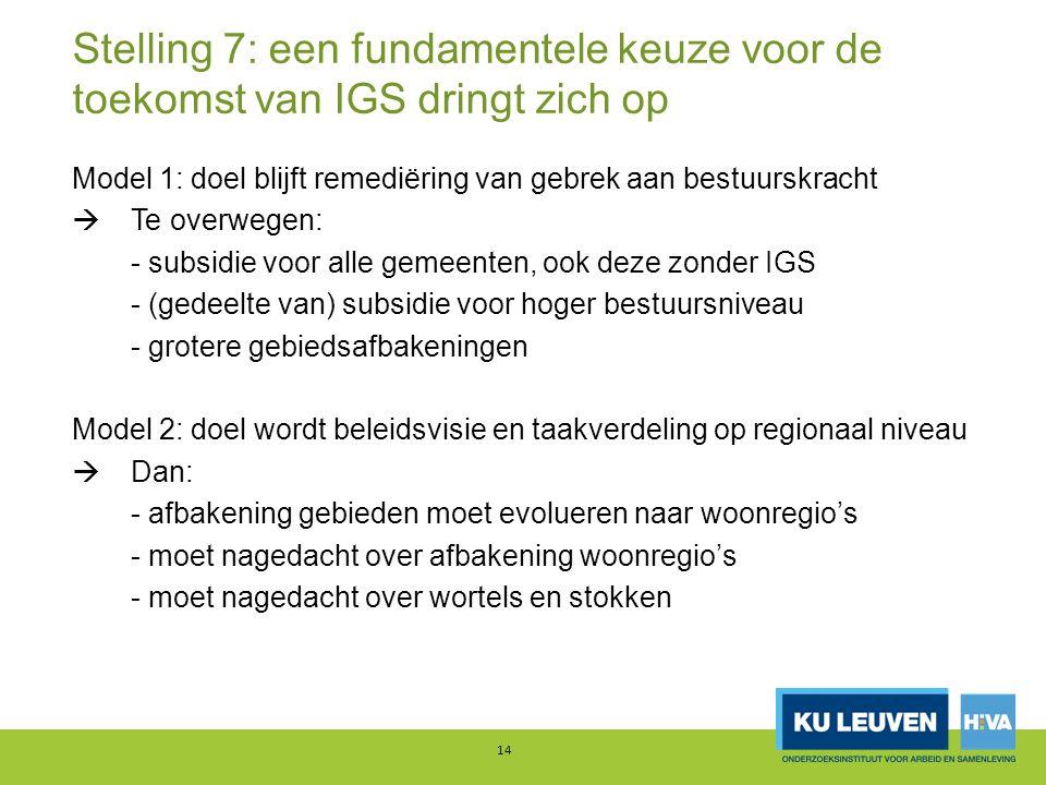 Stelling 7: een fundamentele keuze voor de toekomst van IGS dringt zich op Model 1: doel blijft remediëring van gebrek aan bestuurskracht  Te overweg