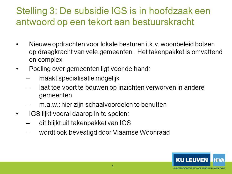 Stelling 3: De subsidie IGS is in hoofdzaak een antwoord op een tekort aan bestuurskracht Nieuwe opdrachten voor lokale besturen i.k.v. woonbeleid bot