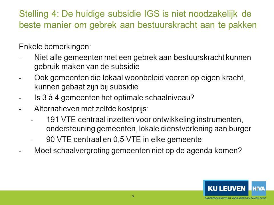 Stelling 4: De huidige subsidie IGS is niet noodzakelijk de beste manier om gebrek aan bestuurskracht aan te pakken Enkele bemerkingen: -Niet alle gem