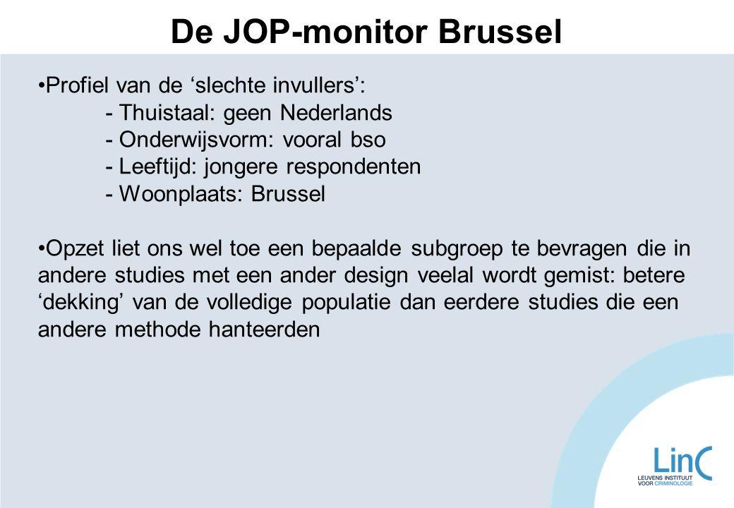 Profiel van de 'slechte invullers': - Thuistaal: geen Nederlands - Onderwijsvorm: vooral bso - Leeftijd: jongere respondenten - Woonplaats: Brussel Op