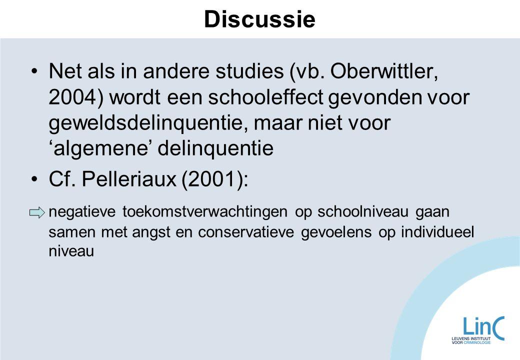 Discussie Net als in andere studies (vb. Oberwittler, 2004) wordt een schooleffect gevonden voor geweldsdelinquentie, maar niet voor 'algemene' delinq