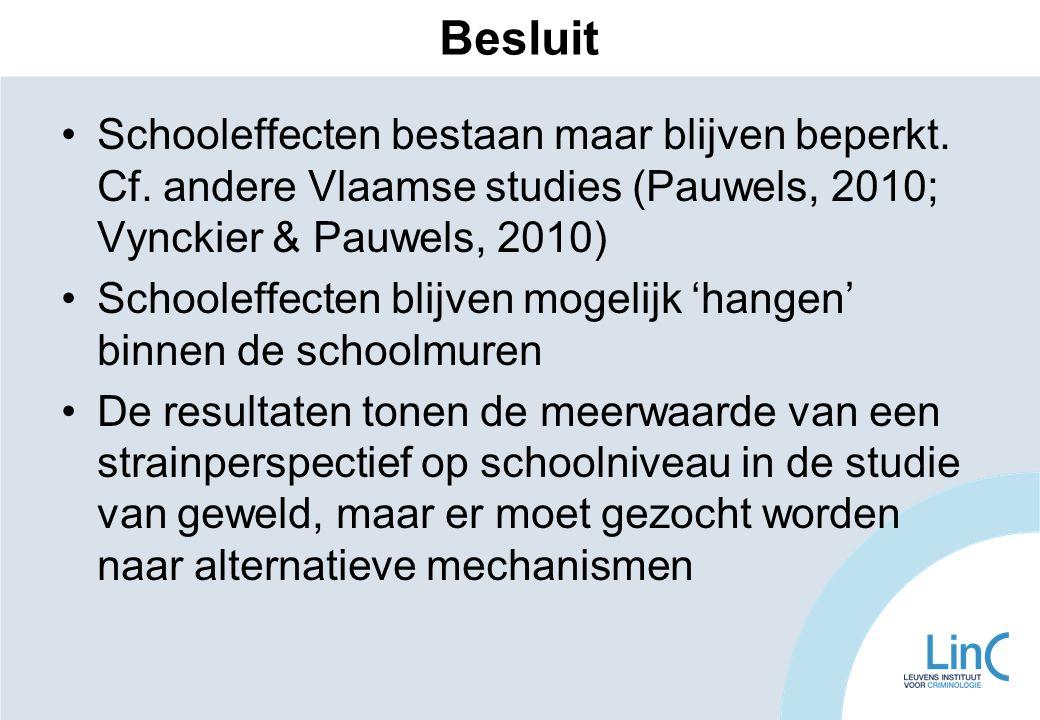 Schooleffecten bestaan maar blijven beperkt. Cf. andere Vlaamse studies (Pauwels, 2010; Vynckier & Pauwels, 2010) Schooleffecten blijven mogelijk 'han