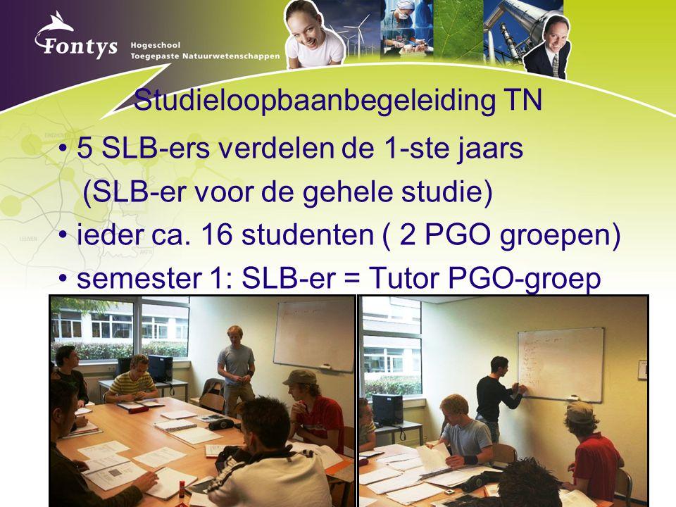 Studieloopbaanbegeleiding TN 5 SLB-ers verdelen de 1-ste jaars (SLB-er voor de gehele studie) ieder ca. 16 studenten ( 2 PGO groepen) semester 1: SLB-