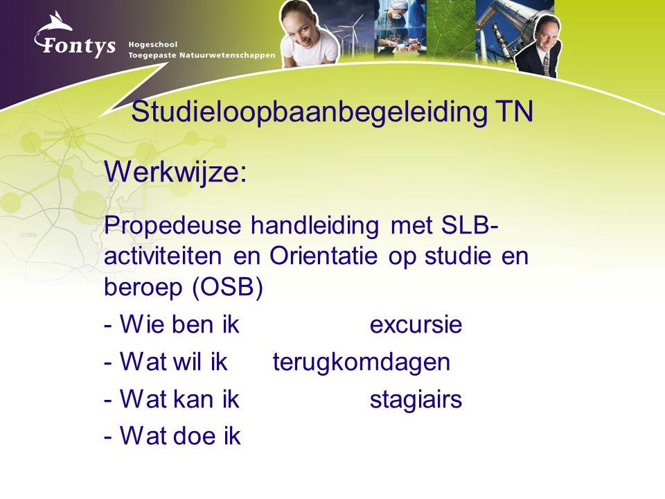 Studieloopbaanbegeleiding TN Werkwijze: Propedeuse handleiding met SLB- activiteiten en Orientatie op studie en beroep (OSB) - Wie ben ikexcursie - Wa