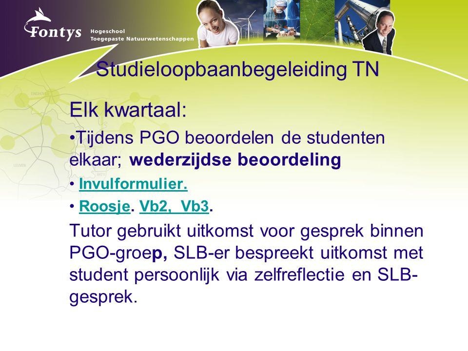 Studieloopbaanbegeleiding TN Elk kwartaal: Tijdens PGO beoordelen de studenten elkaar; wederzijdse beoordeling Invulformulier. Roosje. Vb2, Vb3.Roosje