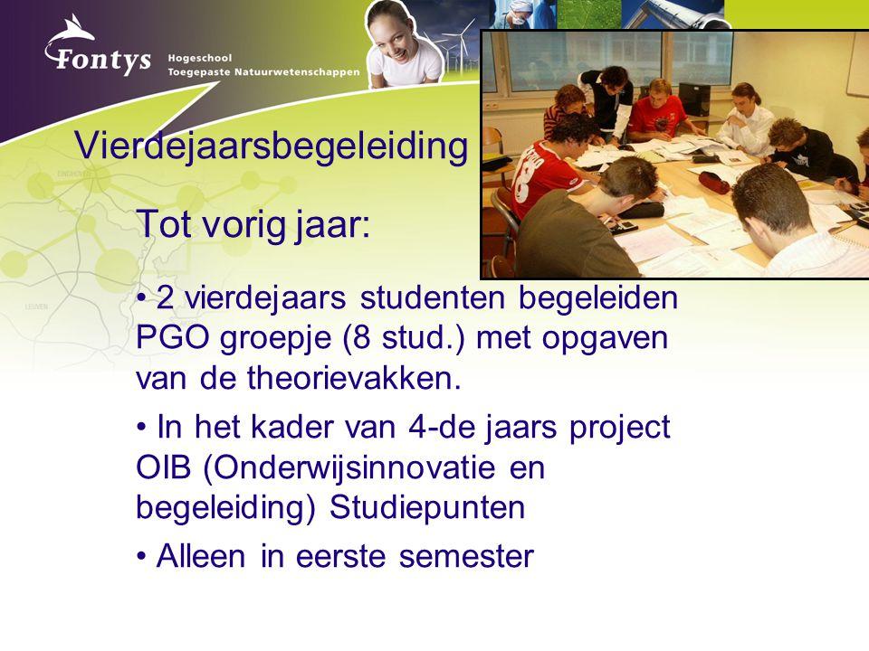 Vierdejaarsbegeleiding Tot vorig jaar: 2 vierdejaars studenten begeleiden PGO groepje (8 stud.) met opgaven van de theorievakken. In het kader van 4-d