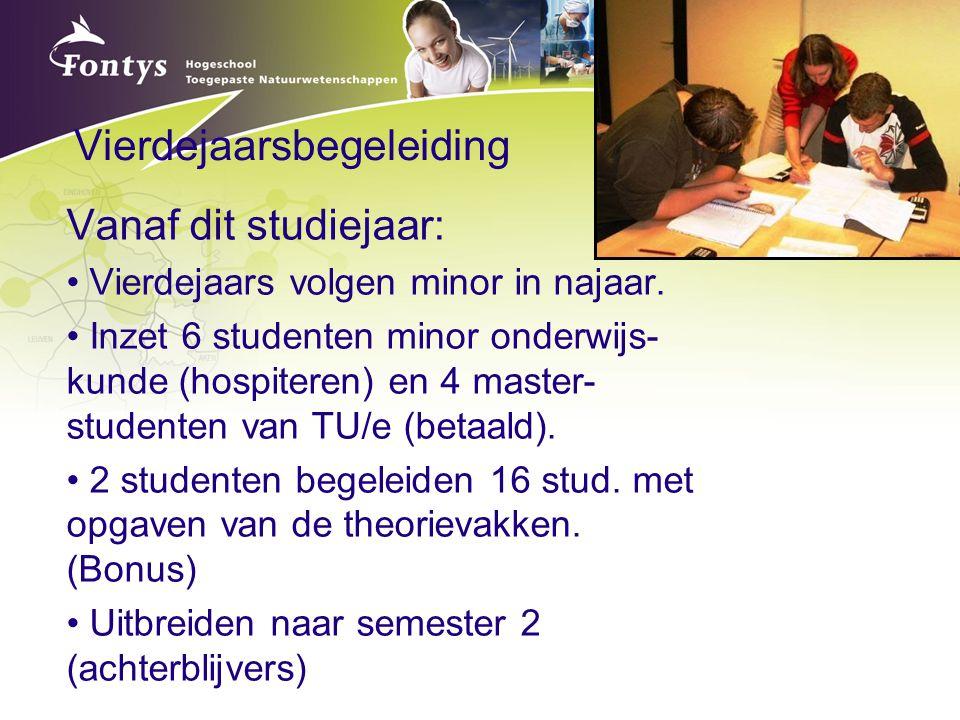 Vierdejaarsbegeleiding Vanaf dit studiejaar: Vierdejaars volgen minor in najaar. Inzet 6 studenten minor onderwijs- kunde (hospiteren) en 4 master- st