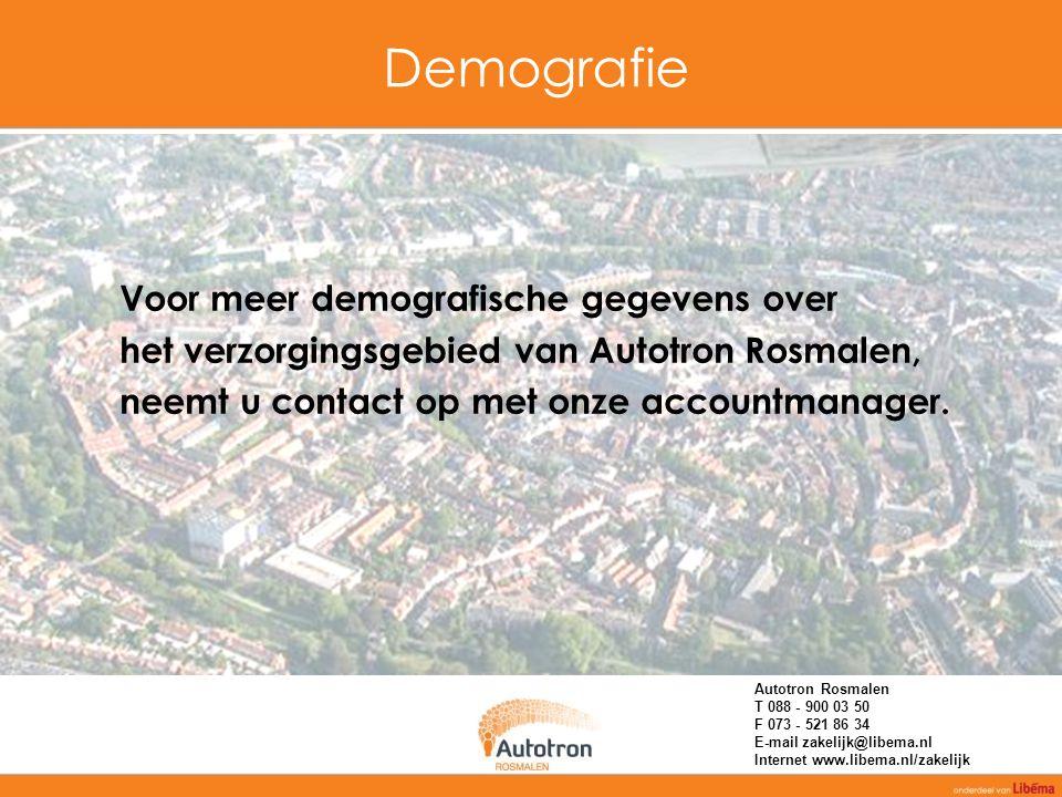 Demografie Voor meer demografische gegevens over het verzorgingsgebied van Autotron Rosmalen, neemt u contact op met onze accountmanager. Autotron Ros