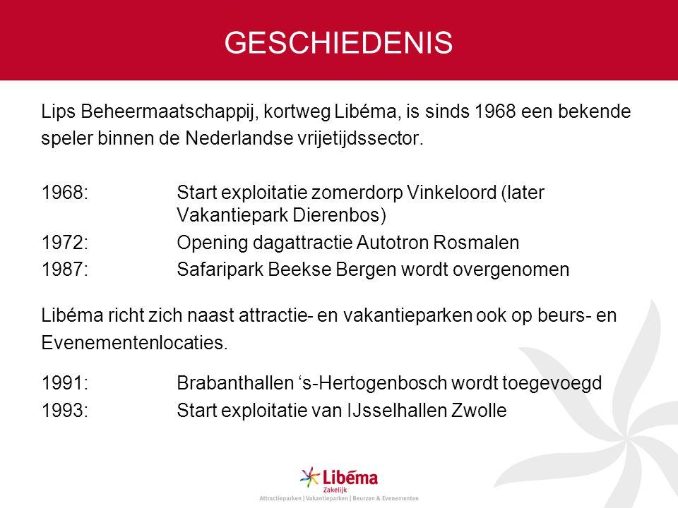 GESCHIEDENIS Lips Beheermaatschappij, kortweg Libéma, is sinds 1968 een bekende speler binnen de Nederlandse vrijetijdssector. 1968: Start exploitatie