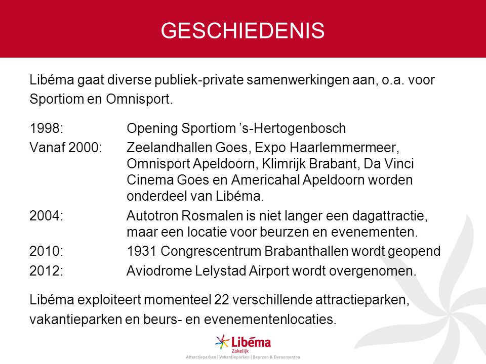 GESCHIEDENIS Libéma gaat diverse publiek-private samenwerkingen aan, o.a. voor Sportiom en Omnisport. 1998: Opening Sportiom 's-Hertogenbosch Vanaf 20