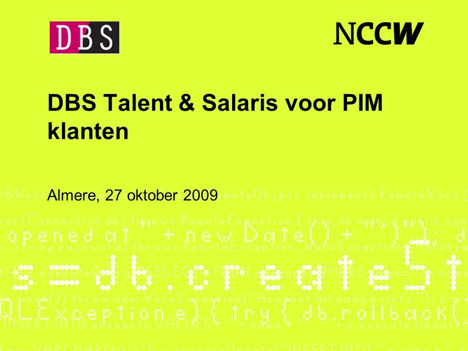 DBS Talent & Salaris voor PIM klanten Almere, 27 oktober 2009