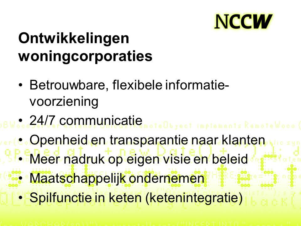 Ontwikkelingen woningcorporaties Betrouwbare, flexibele informatie- voorziening 24/7 communicatie Openheid en transparantie naar klanten Meer nadruk o