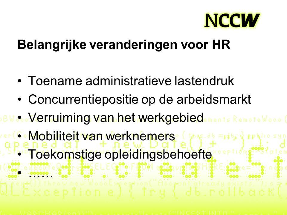 Belangrijke veranderingen voor HR Toename administratieve lastendruk Concurrentiepositie op de arbeidsmarkt Verruiming van het werkgebied Mobiliteit v
