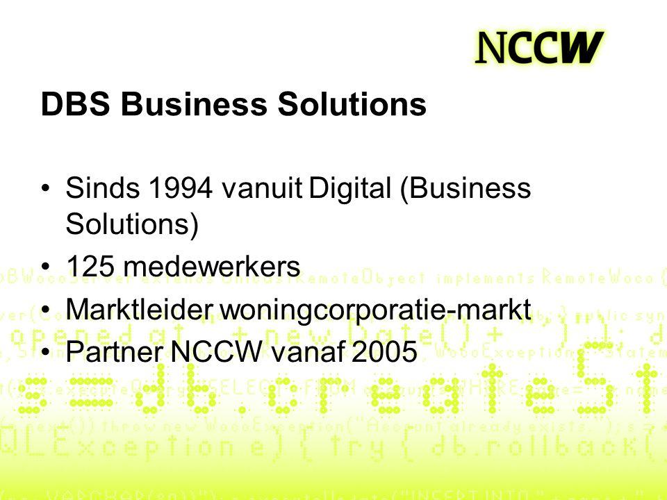 DBS Business Solutions Sinds 1994 vanuit Digital (Business Solutions) 125 medewerkers Marktleider woningcorporatie-markt Partner NCCW vanaf 2005