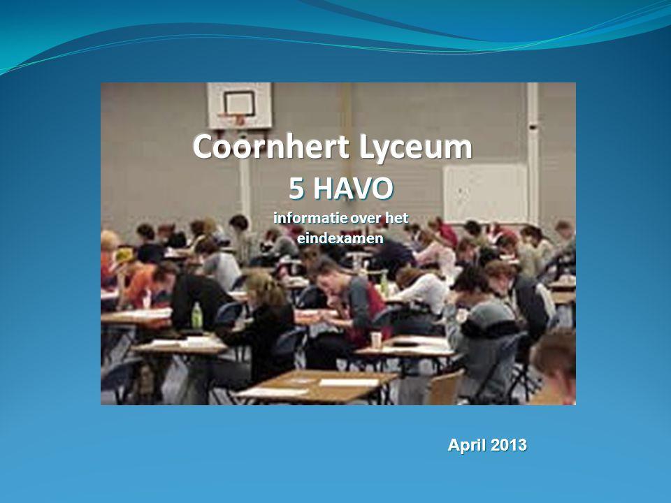 5 HAVO informatie over het eindexamen April 2013