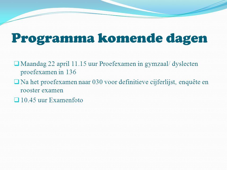 Programma komende dagen  Maandag 22 april 11.15 uur Proefexamen in gymzaal/ dyslecten proefexamen in 136  Na het proefexamen naar 030 voor definitie