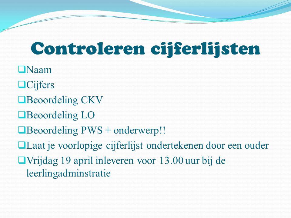 Controleren cijferlijsten  Naam  Cijfers  Beoordeling CKV  Beoordeling LO  Beoordeling PWS + onderwerp!!  Laat je voorlopige cijferlijst onderte