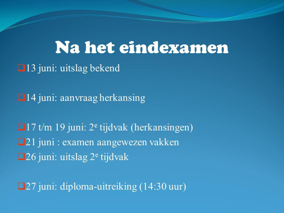 Na het eindexamen  13 juni: uitslag bekend  14 juni: aanvraag herkansing  17 t/m 19 juni: 2 e tijdvak (herkansingen)  21 juni : examen aangewezen