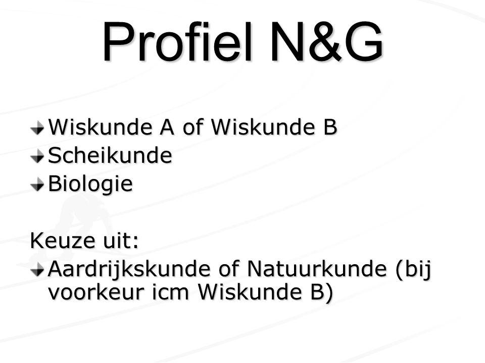 Profiel N&G Wiskunde A of Wiskunde B ScheikundeBiologie Keuze uit: Aardrijkskunde of Natuurkunde (bij voorkeur icm Wiskunde B)