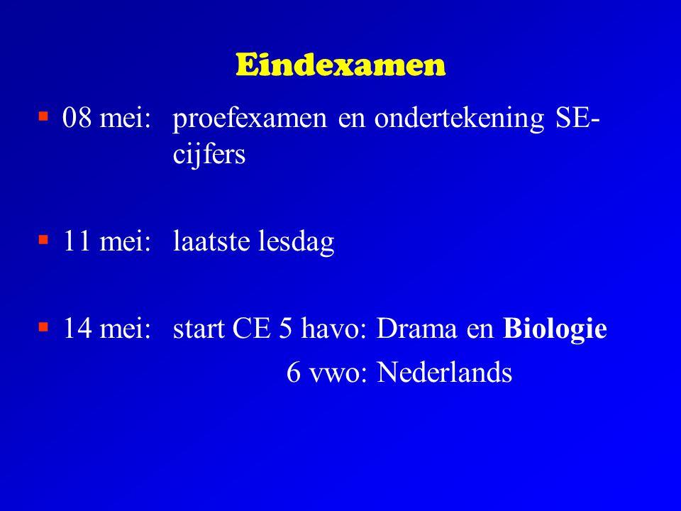 Eindexamen  08 mei:proefexamen en ondertekening SE- cijfers  11 mei:laatste lesdag  14 mei: start CE 5 havo: Drama en Biologie 6 vwo: Nederlands