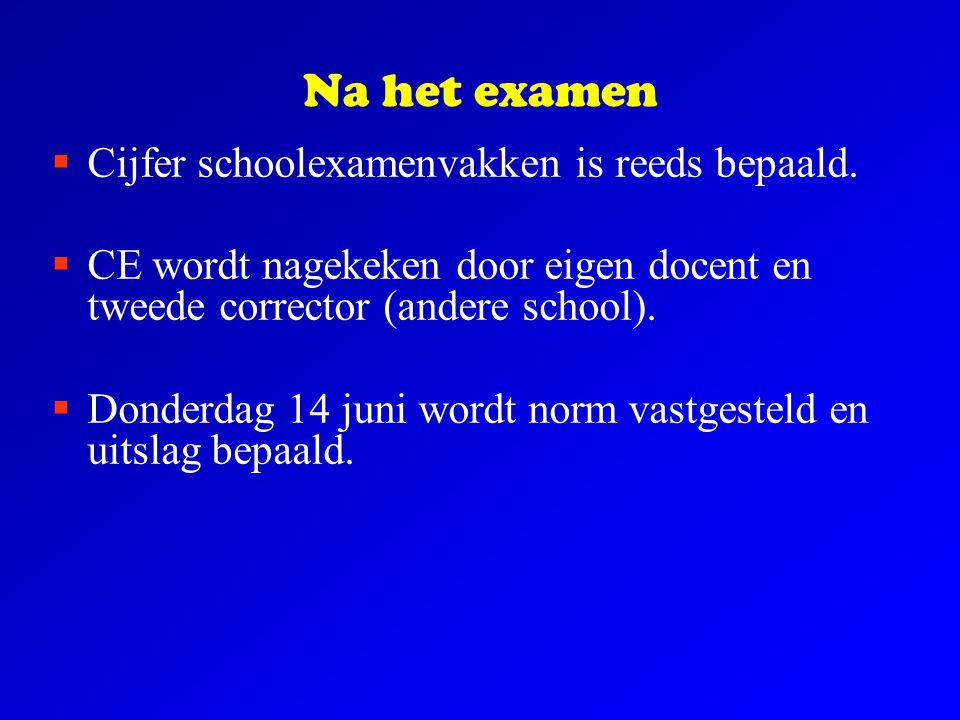 Na het examen  Cijfer schoolexamenvakken is reeds bepaald.  CE wordt nagekeken door eigen docent en tweede corrector (andere school).  Donderdag 14