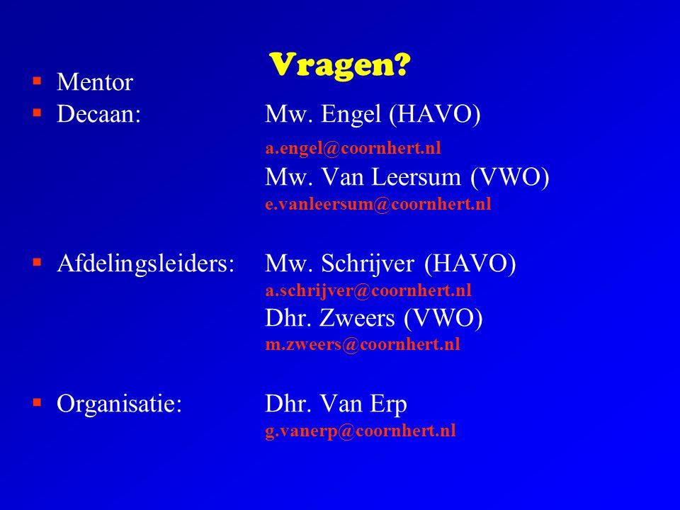 Vragen?  Mentor  Decaan:Mw. Engel (HAVO) a.engel@coornhert.nl Mw. Van Leersum (VWO) e.vanleersum@coornhert.nl  Afdelingsleiders: Mw. Schrijver (HAV