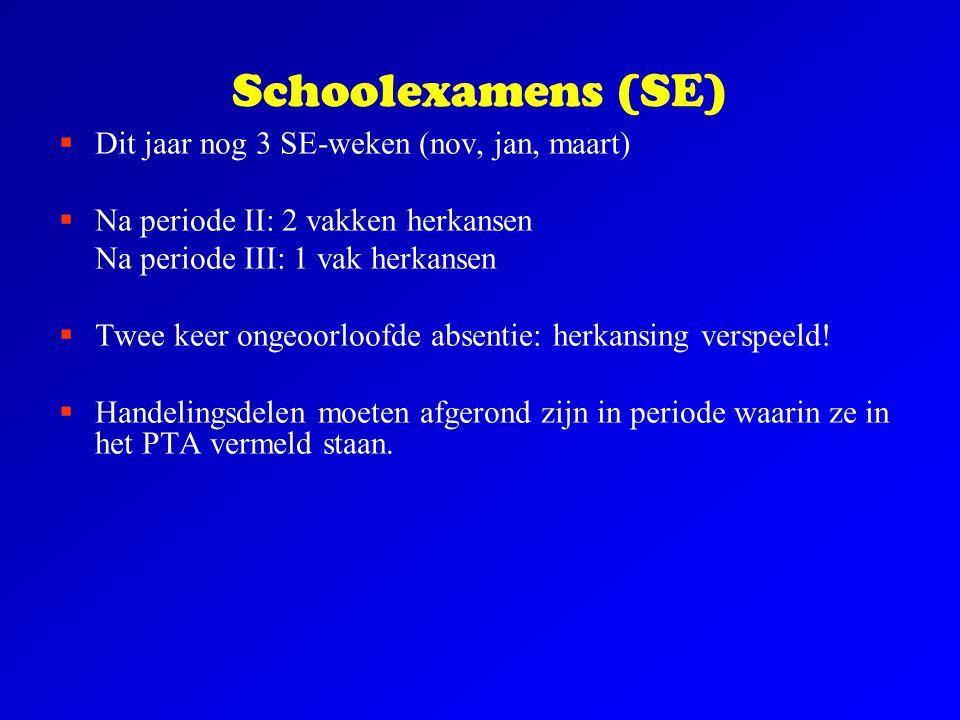 Schoolexamens (SE)  Dit jaar nog 3 SE-weken (nov, jan, maart)  Na periode II: 2 vakken herkansen Na periode III: 1 vak herkansen  Twee keer ongeoor