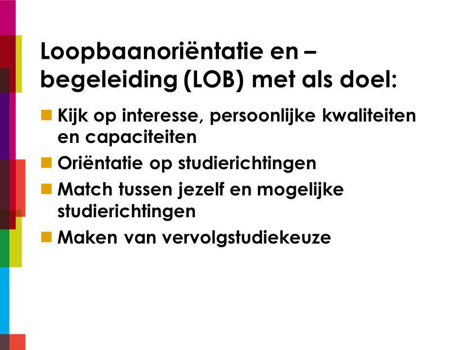 Loopbaanoriëntatie en – begeleiding (LOB) met als doel: Kijk op interesse, persoonlijke kwaliteiten en capaciteiten Oriëntatie op studierichtingen Match tussen jezelf en mogelijke studierichtingen Maken van vervolgstudiekeuze