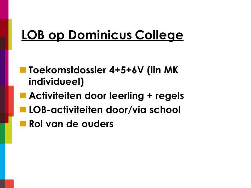 LOB op Dominicus College Toekomstdossier 4+5+6V (lln MK individueel) Activiteiten door leerling + regels LOB-activiteiten door/via school Rol van de ouders