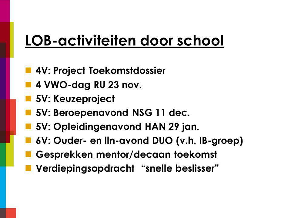 LOB-activiteiten door school 4V: Project Toekomstdossier 4 VWO-dag RU 23 nov.