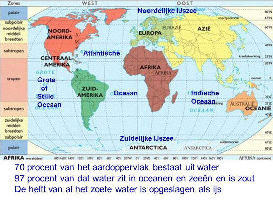 70 procent van het aardoppervlak bestaat uit water 97 procent van dat water zit in oceanen en zeeën en is zout De helft van al het zoete water is opge