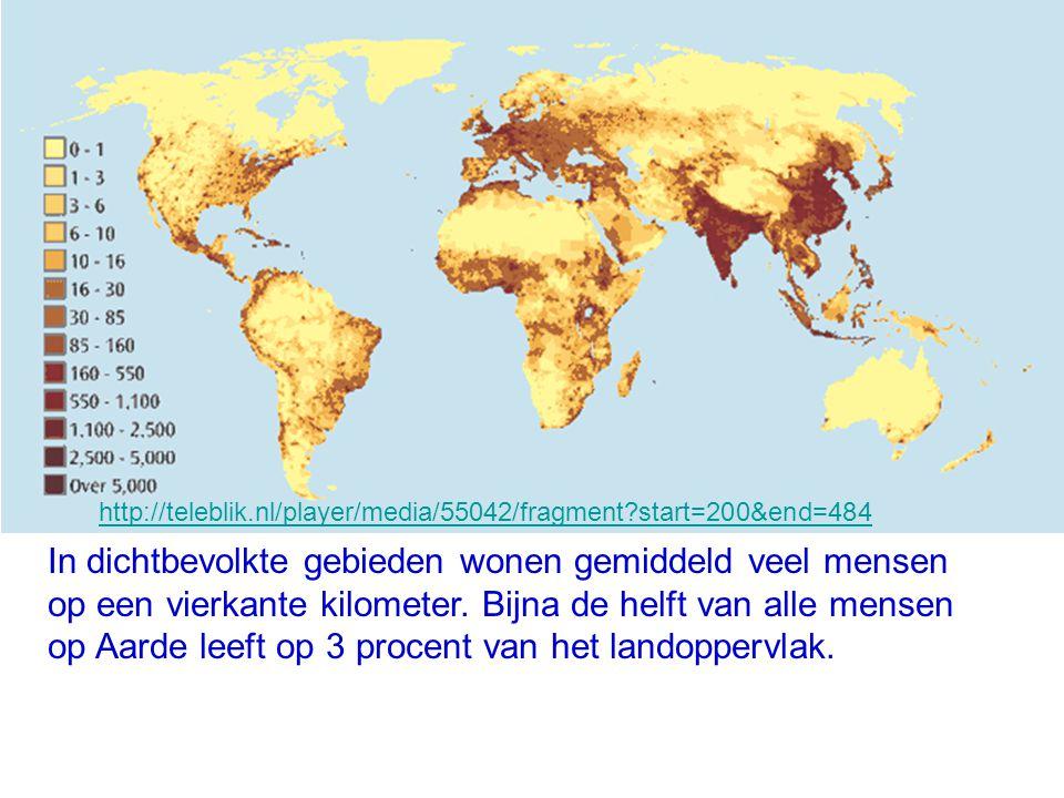 In dichtbevolkte gebieden wonen gemiddeld veel mensen op een vierkante kilometer. Bijna de helft van alle mensen op Aarde leeft op 3 procent van het l