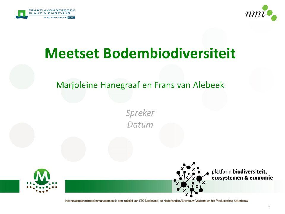 Meetset Bodembiodiversiteit Marjoleine Hanegraaf en Frans van Alebeek Spreker Datum 1