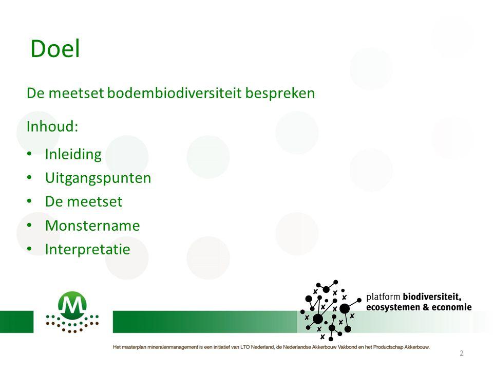 Doel De meetset bodembiodiversiteit bespreken Inhoud: Inleiding Uitgangspunten De meetset Monstername Interpretatie 2