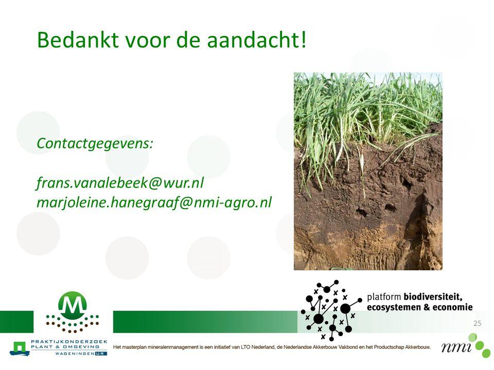 25 Bedankt voor de aandacht! Contactgegevens: frans.vanalebeek@wur.nl marjoleine.hanegraaf@nmi-agro.nl