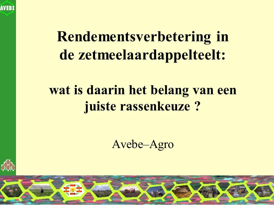 Zuidlaren december 2003 11 Rassenkeuze (1) Agrobiokon : Enquête onder alle telers (respons 500): Rassenkeuze wordt ervaren als een lastig probleem Inventarisatie aaltjes: Nog altijd op 30% van het areaal meer dan 10% opbrengstreductie door aardappelmoeheid