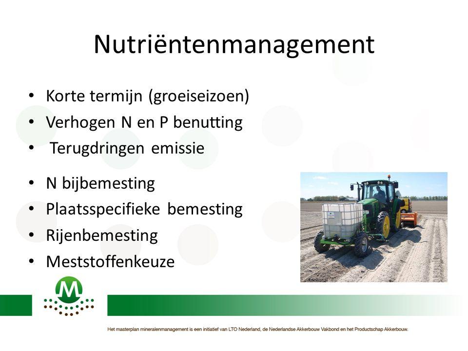 Nutriëntenmanagement Korte termijn (groeiseizoen) Verhogen N en P benutting Terugdringen emissie N bijbemesting Plaatsspecifieke bemesting Rijenbemesting Meststoffenkeuze