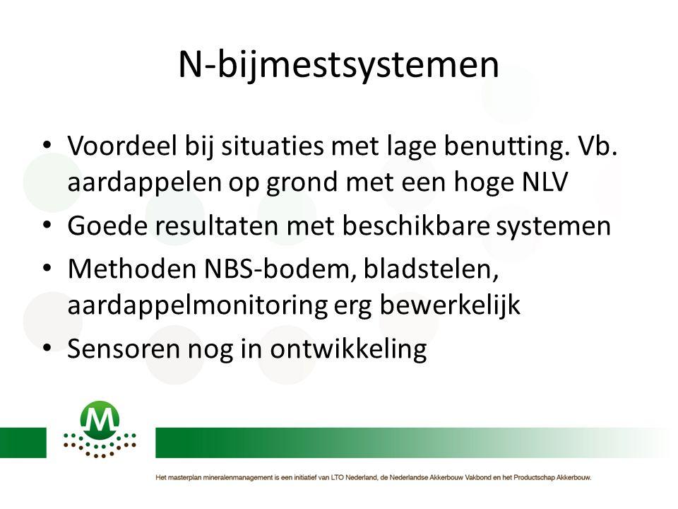 N-bijmestsystemen Voordeel bij situaties met lage benutting. Vb. aardappelen op grond met een hoge NLV Goede resultaten met beschikbare systemen Metho