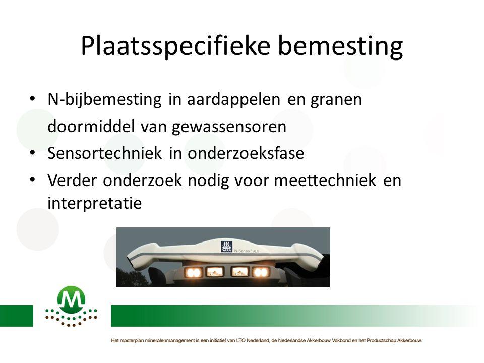 Plaatsspecifieke bemesting N-bijbemesting in aardappelen en granen doormiddel van gewassensoren Sensortechniek in onderzoeksfase Verder onderzoek nodig voor meettechniek en interpretatie