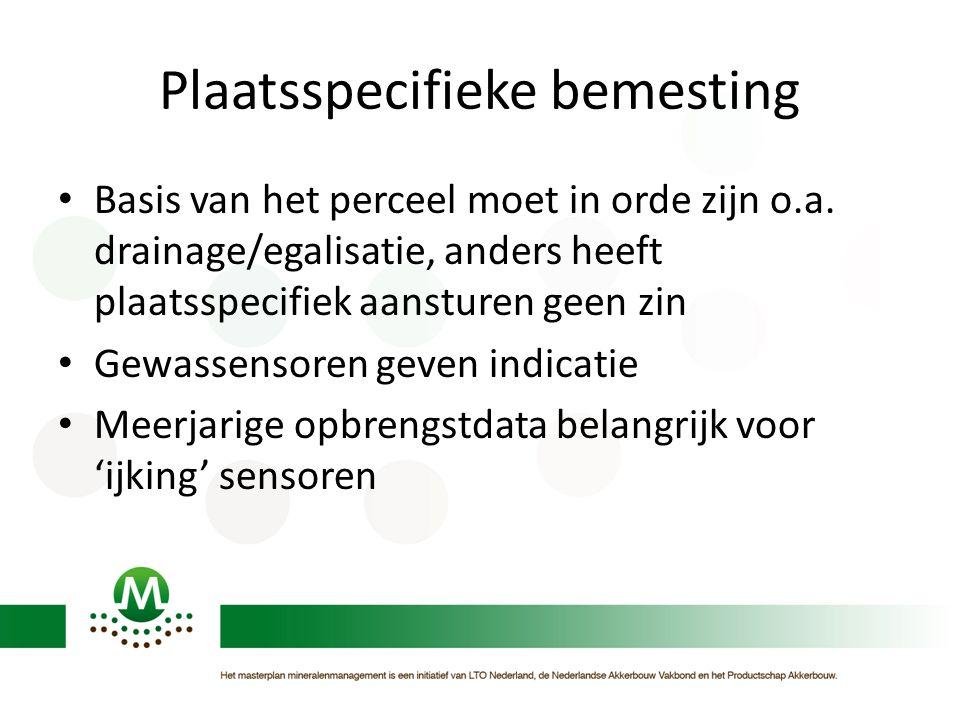 Basis van het perceel moet in orde zijn o.a. drainage/egalisatie, anders heeft plaatsspecifiek aansturen geen zin Gewassensoren geven indicatie Meerja