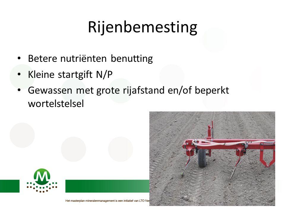 Rijenbemesting Betere nutriënten benutting Kleine startgift N/P Gewassen met grote rijafstand en/of beperkt wortelstelsel